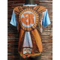 Tee shirt bleu Aum orange