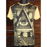 Tee shirt triangle oeil jaune moutarde