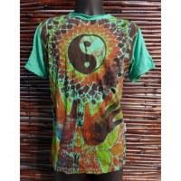 Tee shirt vert yin yang hands
