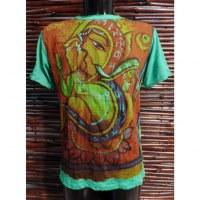 Tee shirt vert Aum et Dieu Ganesh
