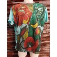Tee shirt bleu éléphant rouge éléphant vert