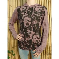 T shirt prune Bouddha multi faces