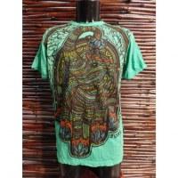 Tee shirt vert khamsa éléphant