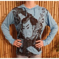 T shirt le samouraï bleu clair