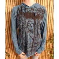 T shirt bleu pétrole Bouddha en méditation