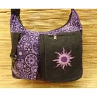 Besace népalaise noire/violet soleil