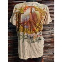 Tee shirt beige peace and love flowers