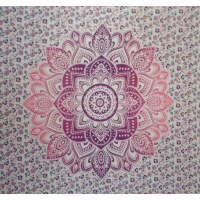 Tenture maxi blanche beautiful lotus rose/mauve