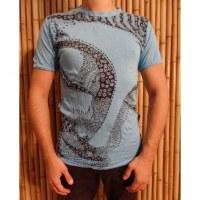 Tee shirt Bouddha flower bleu clair