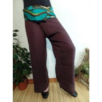 Pantalon thaï marron revers rayong