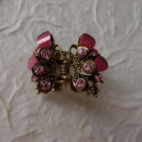 Pince double strass putali rose
