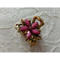 Petite pince strass fiore rose