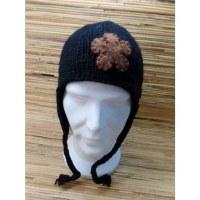Chullo noir fleuri