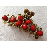 Pince strass farfalle coquelicot