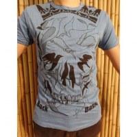 Tee shirt bleu tête de mort oiseaux