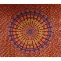 Tenture maxi éventail floral coeur orange/rouge