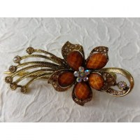 Pince strass fleur marron