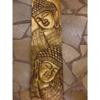 Tableau relief les 2 Bouddha dorés