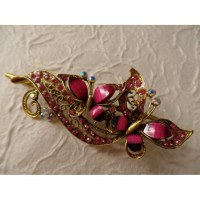 Pince strass Cethosia rose