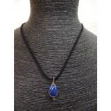 Collier cordon pendentif quartz bleu