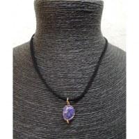 Collier cordon pendentif agate violette