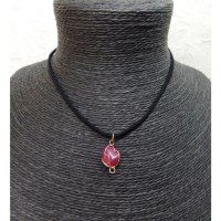 Collier cordon pendentif agate rose