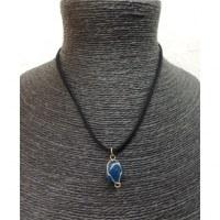 Collier cordon pendentif agate bleue
