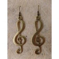 Boucles d'oreilles longues clé de sol