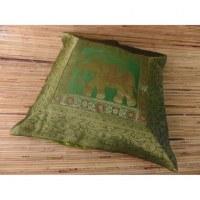 Housse carrée verte Vanarasi l'éléphant