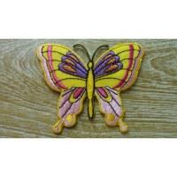 Ecusson papillon coloré fond jaune