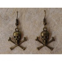 Boucles d'oreilles petit crâne et tibias