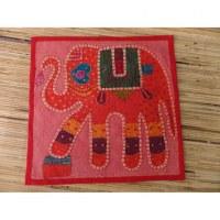 Housse carrée coquelicot patch éléphant