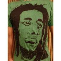 Tee shirt visage Bob Marley vert