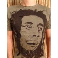 Tee shirt visage Bob Marley kaki