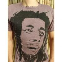 Tee shirt visage Bob Marley prune