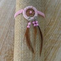 Bracelet dreamcatcher macramé rose