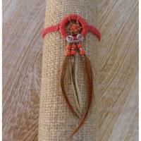 Bracelet dreamcatcher macramé rouge