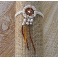 Bracelet dreamcatcher macramé blanc