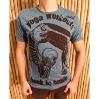Tee shirt entrainement de yoga bleu canard