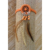 Bracelet dreamcatcher macramé orange