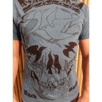 Tee shirt bleu pétrole tête de mort oiseaux