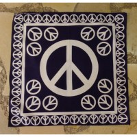 Bandana peace and love bleu marine/blanc