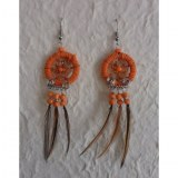 Boucles d'oreilles attrape rêves orange