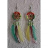 Boucles d'oreilles attrape rêves tricolore plumes color 2