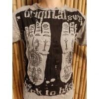 Tee shirt gris acier les pieds de Bouddha