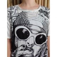 Tee shirt blanc Kurt Cobain