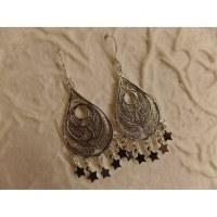 Boucles d'oreilles ethnik ocèle pampilles étoiles