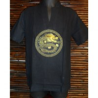 Chemise noire brodée dragon doré