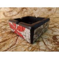 Cendrier feuilles rouge/noire/grise