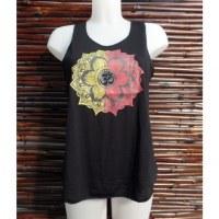 Débardeur noir symbole Om lotus jaune/rouge